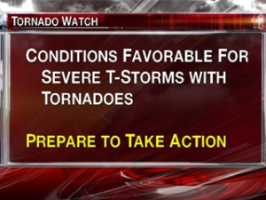 Thunderstorm warning sign on TV